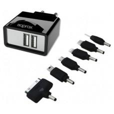 CARGADOR USB DE VIAJE/PARED DUAL+ 6 TIPS BLACK APPROX