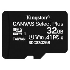 MICRO SD 32 GB CANVAS SELECT PLUS  1 ADAP. CLASS 10 KINGSTON (PACK 2 UND)